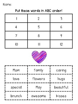 mother s day abc order by kirstenjean6 teachers pay teachers