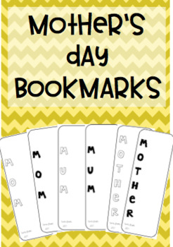 Mother's Day Acrostic poem bookmarks {6 types: Mom and Mum}