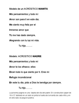 Mother's Day Acrostics & Father's Day Card - Spanish
