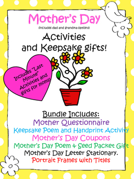 Mother's Day Activities and Keepsakes (last minute - No Prep)