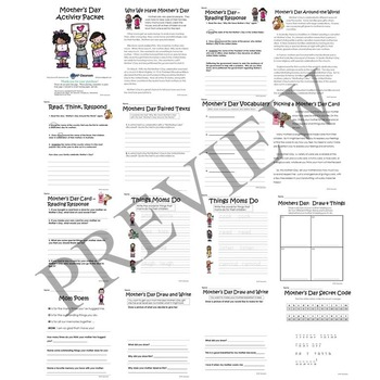 Mothers Day No Prep Activity Packet Printable Worksheets