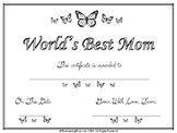 Mother's Day questionnaire, certificate, poem, mini book a