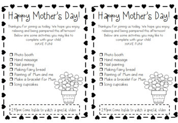 Mother's Day Activity Checklists - EDITABLE