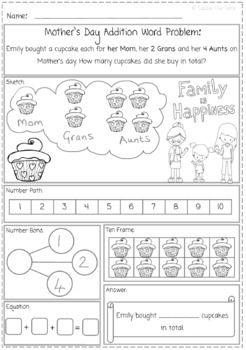 Mother's Day Addition Word Problem Freebie for K.OA 2.0