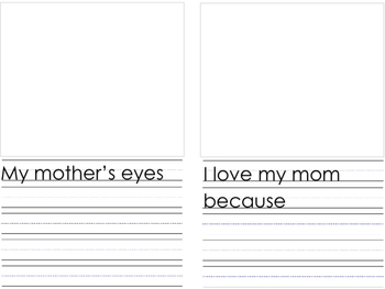 Mother's Day Book Template and Writing Template with a Grandma version