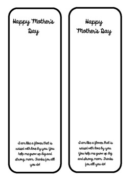 Mother's Day Bookmark in English & Spanish