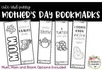 Mother's Day Bookmarks - Black and White Printer Friendly!