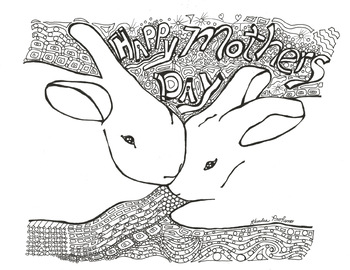 Mother's Day Bunny Coloring Sheet