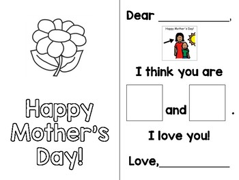 Mother's Day Card - Boardmaker Special Education