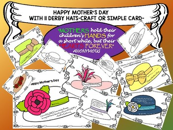 Mother's Day Card - Craft or Simple Card With Derby Hats (on the last minute)