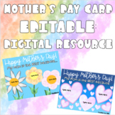 Mother's Day Card Editable: Distance Learning