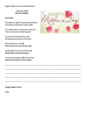 Mother's Day Card From Middle School Poem and Fill In