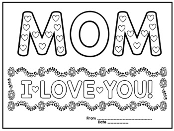 Mother S Day Coloring Cards Worksheets Teachers Pay Teachers