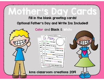 Mother's Day Cards Fill in The Blank Activity