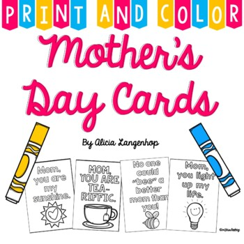 Mother's Day Cards - Print & Color