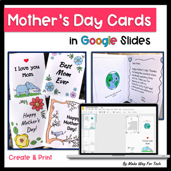 Mother's Day Card Templates |Mother's Day Distance Learning for Google Classroom