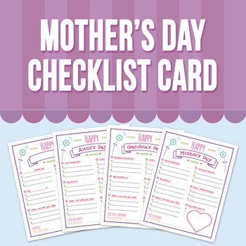 Mother's Day Checklist Card