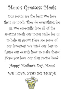 Mother's Day Class Recipe Book