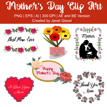 Mother's Day Clip Art - Set of 6