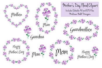 Mother's Day Clipart With Violets