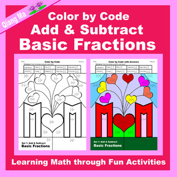 Mother's Day Color by Code: Add & Subtract Basic Fractions