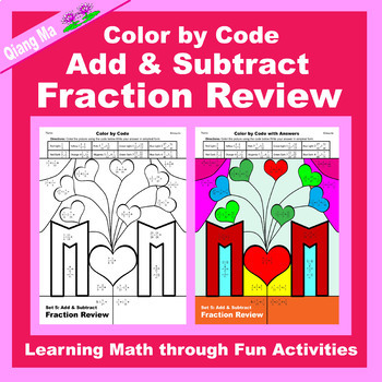 Mother's Day Color by Code: Add & Subtract Fraction Review