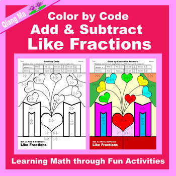 Mother's Day Color by Code: Add & Subtract Fractions 5 in 1
