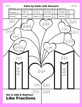 Mother's Day Color by Code: Add & Subtract Like Fractions