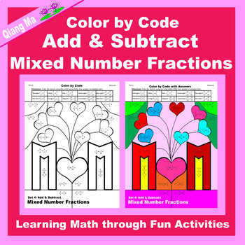 Mother's Day Color by Code: Add & Subtract Mixed Number Fractions