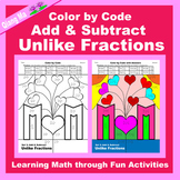 Mother's Day Color by Code: Add & Subtract Unlike Fractions