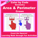Mother's Day Color by Code: Area and Perimeter: Count Squares: Crown