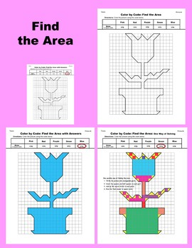 Mother's Day Color by Code: Area and Perimeter: Count Squares: Flower