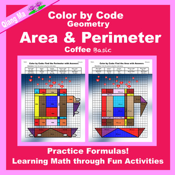 Mother's Day Color by Code: Area and Perimeter: Practice Formulas 3 in 1
