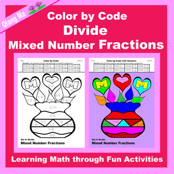 Mother's Day Color by Code: Divide Mixed Number Fractions