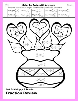Mother's Day Color by Code: Multiple & Divide Fraction Review