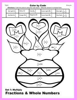 Mother's Day Color by Code: Multiply Fractions & Whole Numbers