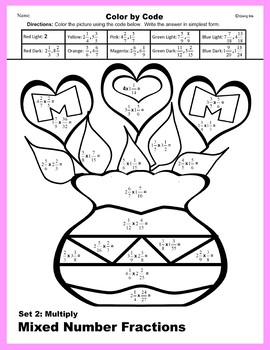 Mother's Day Color by Code: Multiply Mixed Number Fractions