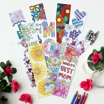 Mother's Day Coloring Bookmarks – 12 Printable Bookmarks to color for Mom / Mum