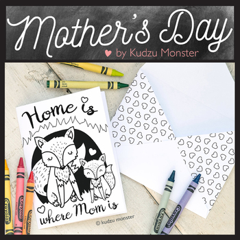 Mother's Day Coloring Card Fox Den