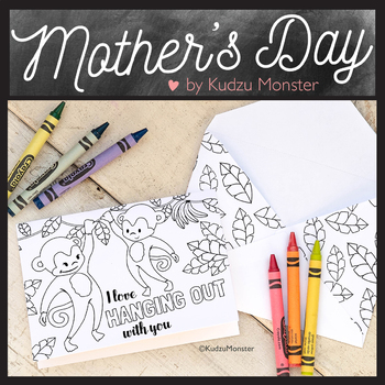 Mother's Day Coloring Card Monkey