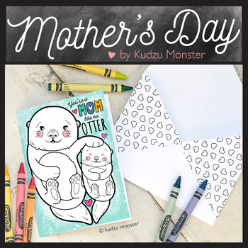 Mother's Day Coloring Card Otter