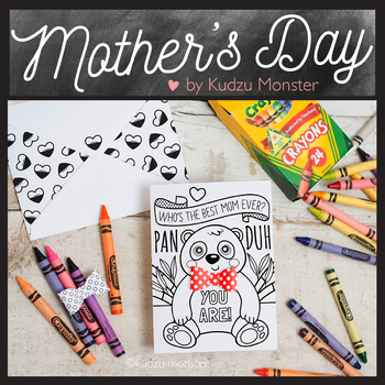 Mother's Day Coloring Card Panda with Bowtie