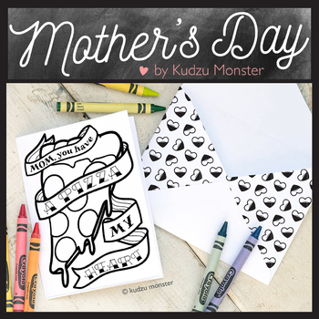 Mother's Day Coloring Card Pizza