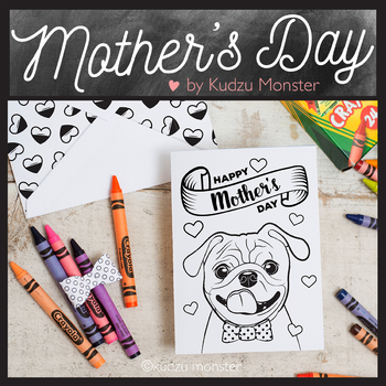 Mother's Day Coloring Card Pug