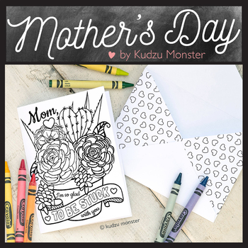 Mother's Day Coloring Card Succulents Cactus Flowers