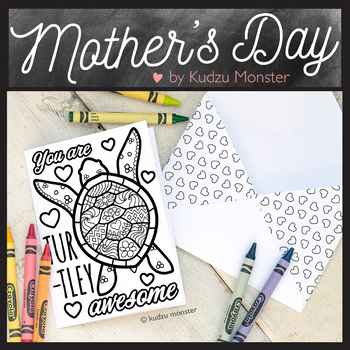 Mother's Day Coloring Card Turtle