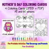 Mother's Day Coloring Cards - Set of 4