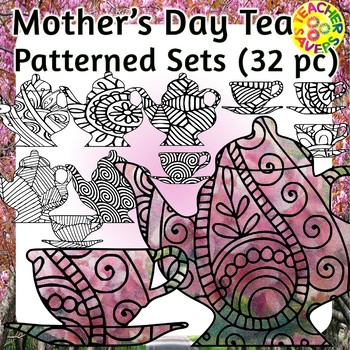 Mother's Day Coloring Clip Art Set Commercial and Personal Use