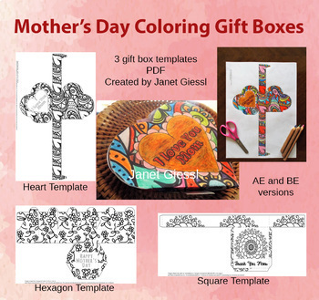 Mother's Day Coloring Gift Box Templates