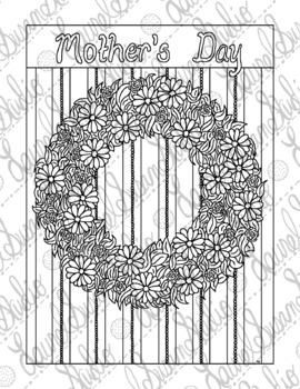 Mother's Day Coloring Page, Floral Wreath, Adult Coloring, Spring